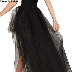 Image 4 - Womens Tulle Tutu Long Black Skirts Sexy Asymmetry Vintage Steampunk Skirts Women Long Burlesque Corset Skirt Black Plus Size