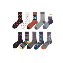 Autumn New Cotton Socks For Men Simple Casual Cartoon Geometric Pattern Breathable Sweat-Absorbing Sport Male