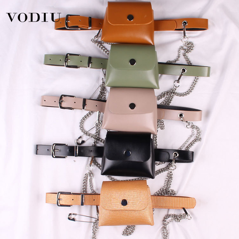 Waist Bag Women Fanny Packs 2019 Fashion Wild Personality Street Diagonal Small Square Fanny Pack Leather Women's Waist Belt Bag