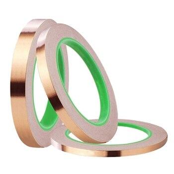 3 Paquete de cinta de papel de aluminio con adhesiva 3 tamaños cinta de cobre de doble cara para apantallamiento Emi repelente de babosas de circo