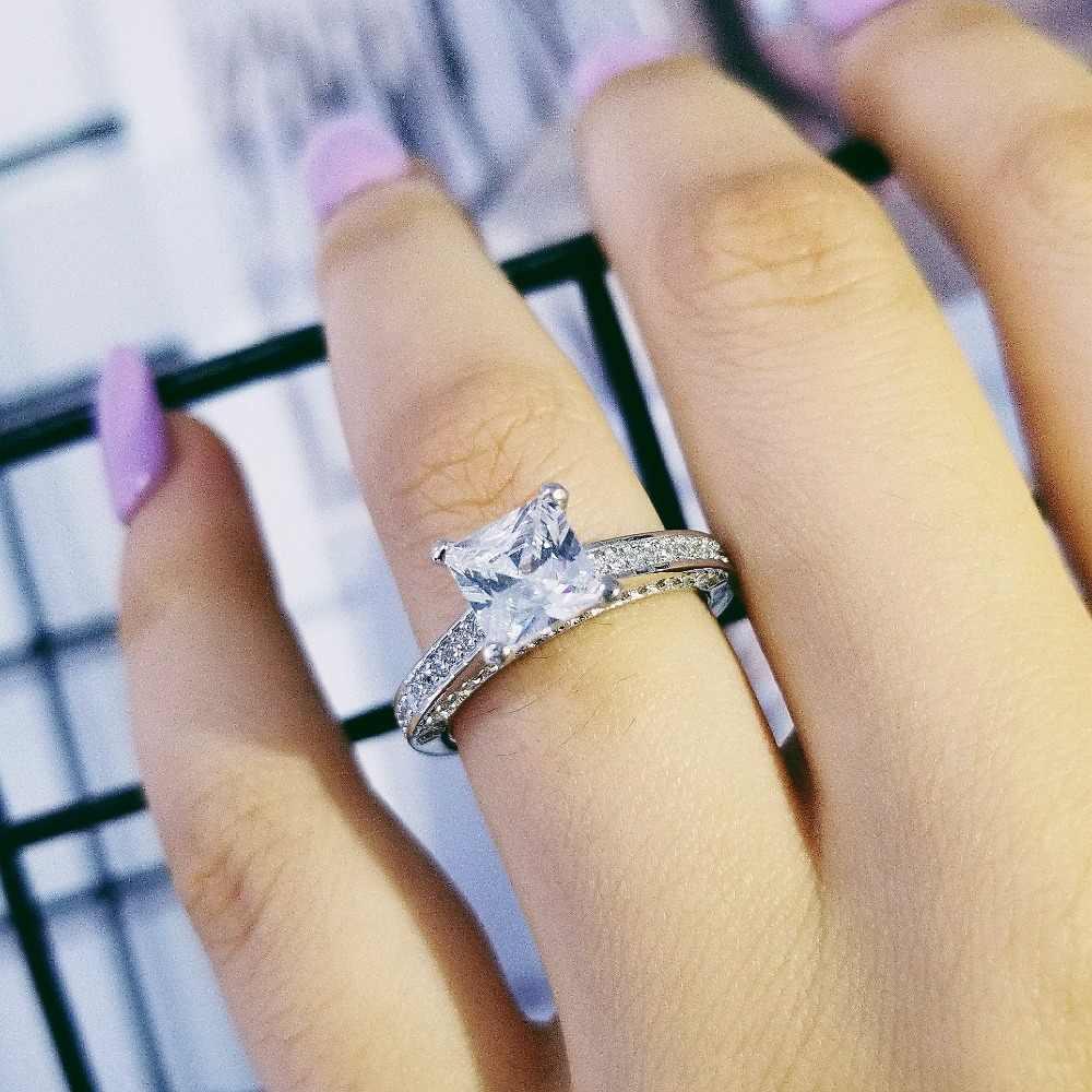 Solid สินค้าแท้ 925 แหวนหมั้นแหวนเงินเจ้าหญิงตัดแฟชั่นเครื่องประดับร้อนขายส่งส่วนบุคคล R645
