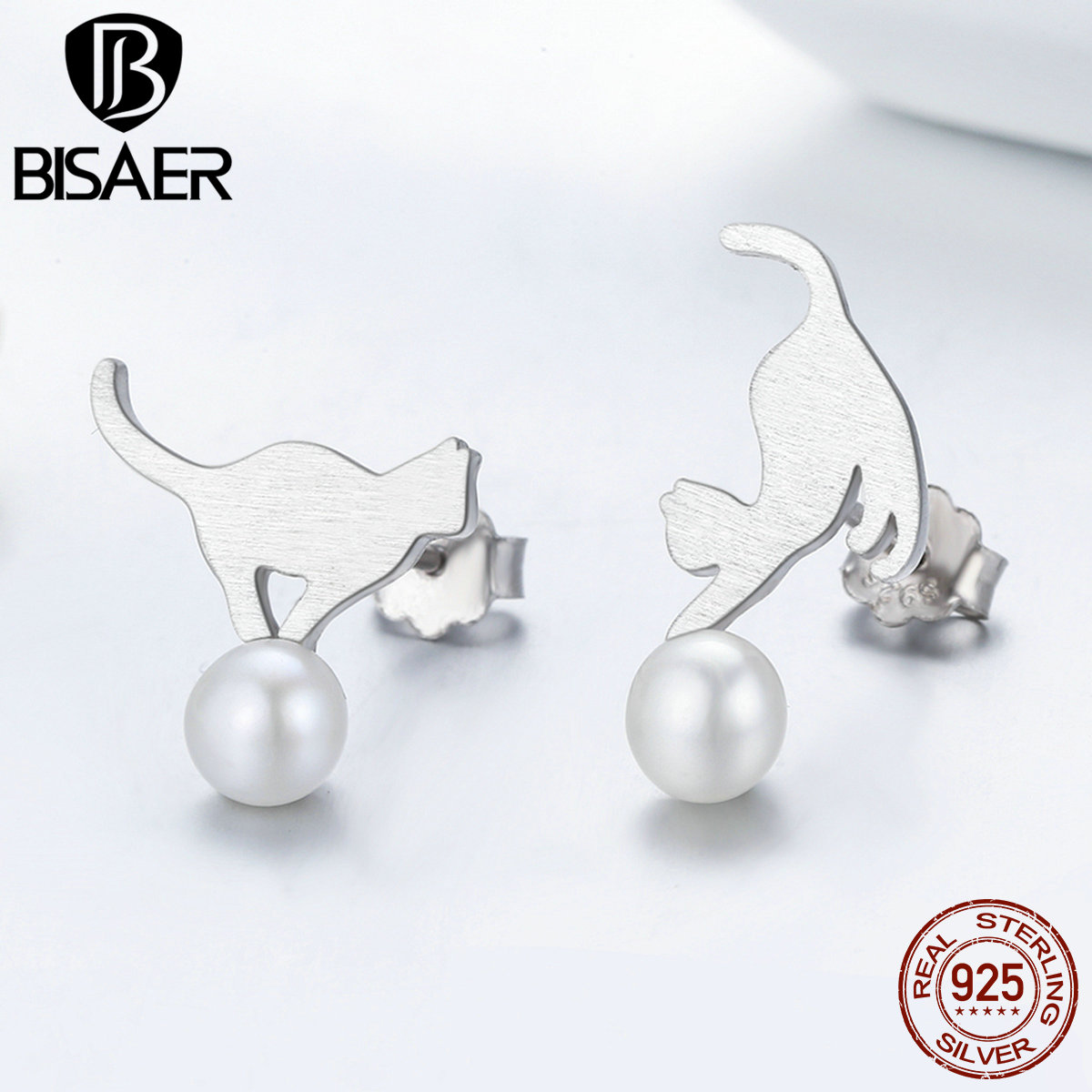 BISAER Hot Sale 100% 925 Sterling Silver Small Earrings Cat Stud Earrings For Women Fashion Jewelry Bijoux New Year Gift GXE235