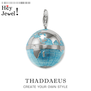 Pendant Blue Globe,2020 Spring Lobster Clasp Classic Jewelry Europe Charm Accessories 925 Sterling Silver Gift For Men Woman