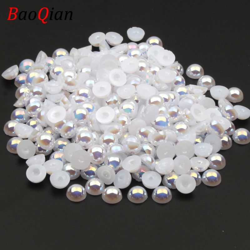 Acrylic White Beads DIY Half-face AB Imitation Pearl Semi-circle Beads Making Refrigerator Stickers Home Scrapbooking Jewelry