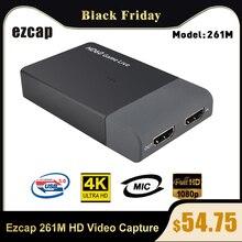 Ezcap 261M USB 3.0 HD Video yakalama 4K 1080P oyun canlı akış Video dönüştürücü desteği 4K video girişi mikrofon XBOX One için PS4