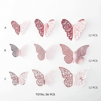 New Rose Gold Butterfly Decorations 3D Wall Decals Art Sticker Diy Removable Paper Murals for Home Living Room Kids Girls Bedroo