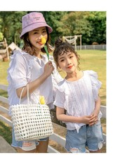 Summer net red mother and daughter white shirt 2020 new Korean version of loose and relaxed wild design sense lace parent-child недорого