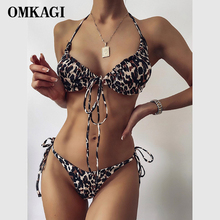 Thong Swimsuit Bikini-Set Biquini Beach-Wear OMKAGI Leopard Mini Women Push-Up Female
