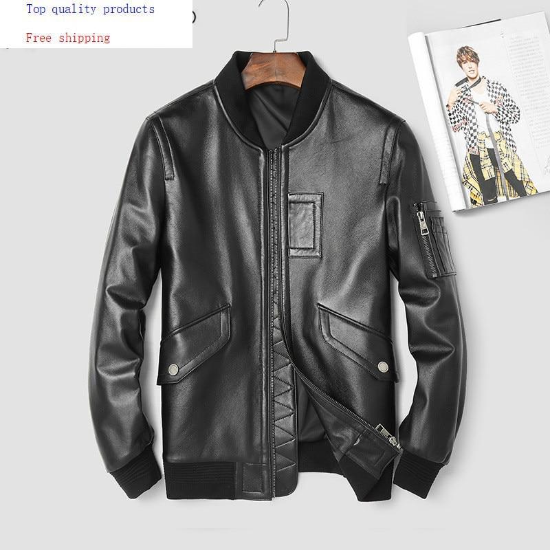 Mens Leather Jacket Spring Autumn Genuine Leather Sheepskin Coat Motorcycle Bomber Jacket Men Clothes 2020 3206 KJ2223
