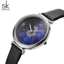 купить SK watch women watches luxury famous brand black leather watch montre femme 2019 ladies wristwatch reloj mujer relogio feminino по цене 879.09 рублей
