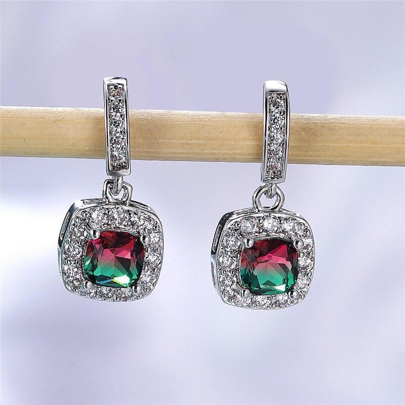 Dainty Female Rainbow Crystal Drop Earrings Cute Silver Color Dangle Earrings Vintage Bridal Square Wedding Earrings For Women