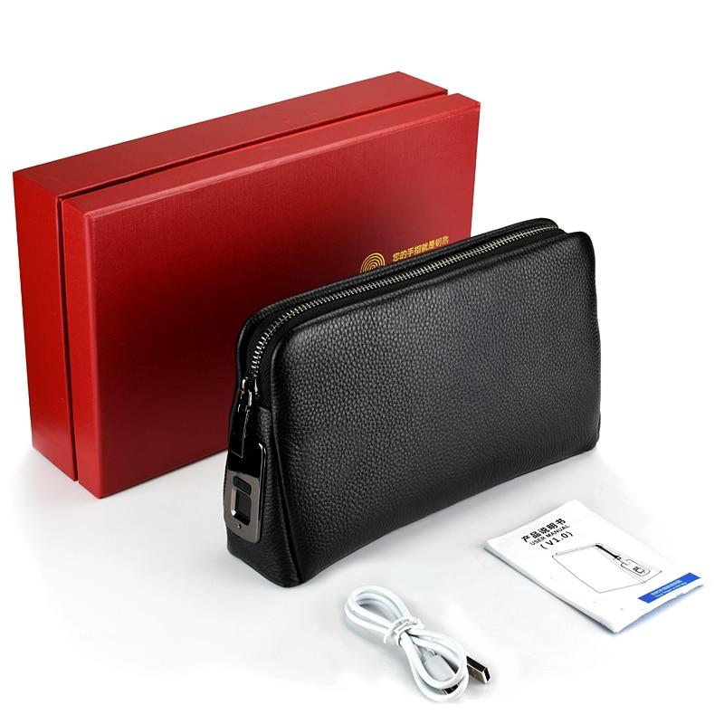 Men's Fingerprint Bags For Men Leather Hand Bag Male Long Money Wallets Mobile Phone Pouch Men Messenger Bag Anti-Theft Purses