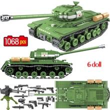 1068PCS Soviet Russia IS-2M Heavy Tank Building Blocks WW2 Military Tank Soldier Police Weapon figures Bricks Toys for kids boys printio soviet tank