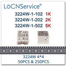 LoCNService 50PCS 250PCS 3224W 4*4 5 2 1K K K Alta qualidade SMD Aparar Potenciômetro 3224W-1-102E 3224W-1-202E 3224W-1-502E