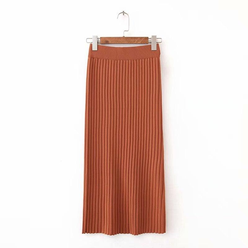 2018 Summer Women's Korean-style High-waisted Elastic Slit Hemline At Hem Mid-length Skirt Explicit Elegant Skirt J8474