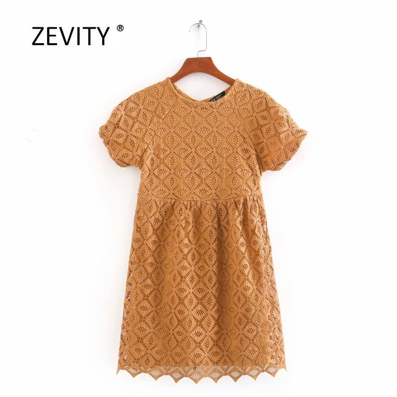 New 2020 women vintage o neck short sleeve lace embroidery casual mini dress female back hole vestido chic hollow dresses DS3876