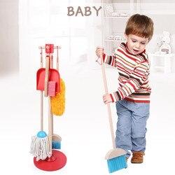 Juego de práctica de tareas preescolares, juego de juguete, Herramientas de limpieza de madera, juguetes de barrido para niños