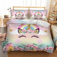 3D Rainbow horse Duvet Cover with Pillowcase Set Zipper Closure Single Double Full Queen King Size Kids Duvet