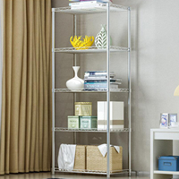 4/5Tier Black/white Shelves Adjustable Steel Wire Metal Shelf Kitchen / Shop Storage Rack/Shelving Wire Shelf Kitchen/Office
