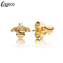CUTEECO 2019 Love And Small Bee Stud Earrings Fashion Cute Gold Color Enamel Animal For Women Jewelry