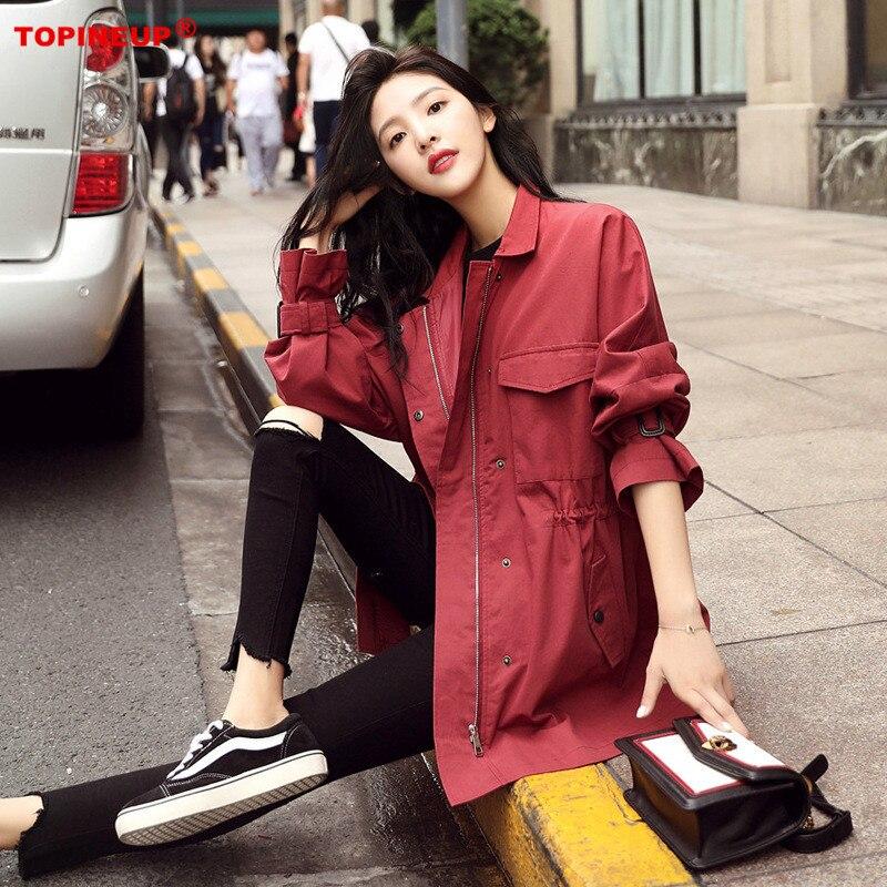 Windbreaker Female Korean Chic Waist Loose Outfit Solid Color Elegant Coat Streetwear Sweet   Trench   Coat