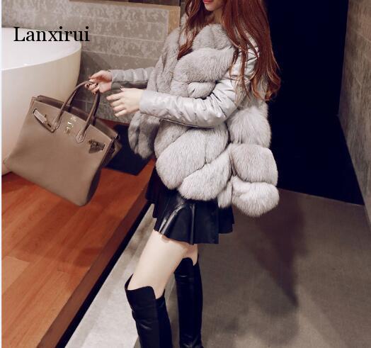 Femmes chaud fausse fourrure une veste d'hiver ajustée avec manteau à manches détachables expédition rapide - 4