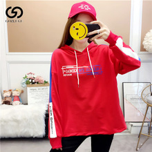 Autumn and winter simple fashion womens hoodie casual fleece loose pullover sweatshirt