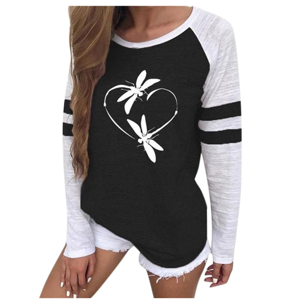 Women Love Heart Printing Sweatshirt Autumn Fashion Round Neck Long Sleeve Casual Blouse Streetwear Ladies Color Matching Tops