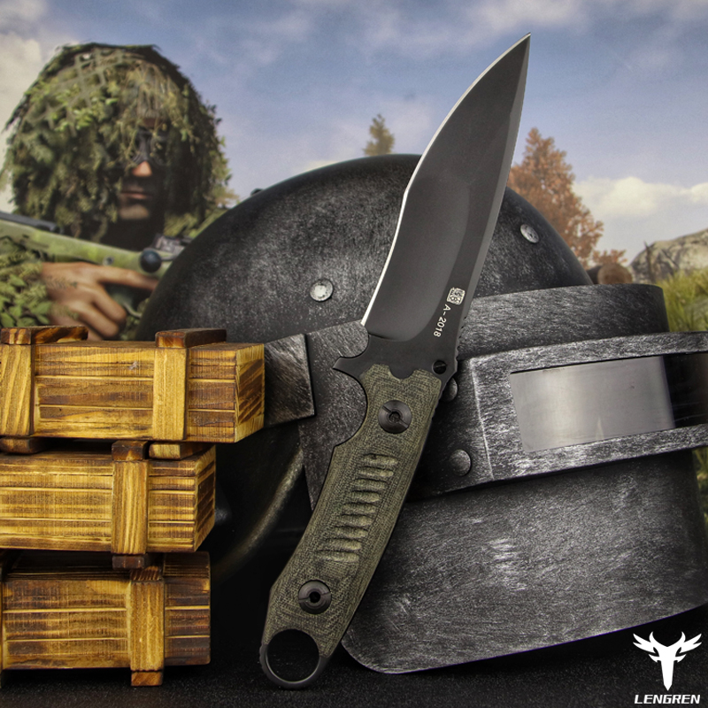 Straight Military Outdoor Knife Knife Handle Pocket North Hunting American Camping Steel Knife DC53 Tactics LENGREN Knife Flax