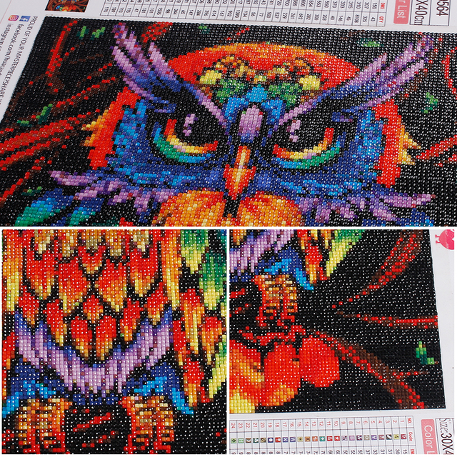 HUACAN Owl Diamond Painting Full Square Embroidery Animals Pictures With Rhinestones Kit Home Decoration