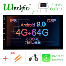 """7"""" IPS screen 4G 64G Android 9.0 car multimedia GPS 2 DIN universal radio touch screen stereo navigation no DVD PLAYER"""