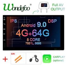 Radio multimedia con GPS para coche, de 7 pulgadas radio con pantalla IPS, 4 GB 64 GB, Android 9,0, 2 DIN, pantalla táctil universal, navegador estéreo sin reproductor de DVD