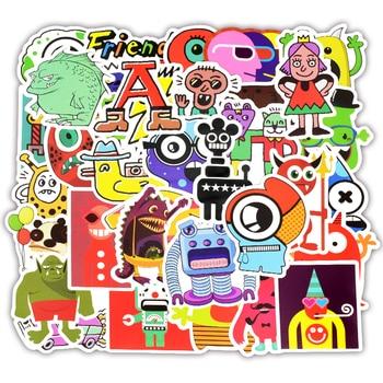 цена на Doodle Stickers Funny Little Monster Robot Decal Sticker Gift Toys for Children DIY Laptop Fridge Suitcase Skateboard Car 50PCS