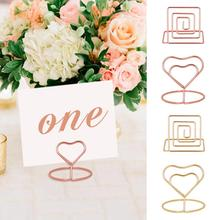 10pcs מתכת תמונה קליפים מקום כרטיס מחזיק קליפים סימן מספרי שולחן חתונה תפאורה חתונה מקום מחזיק carte de שולחן mariage