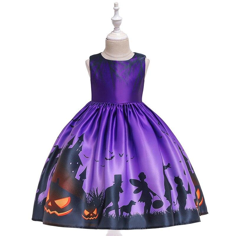 New cute 3D printing Pumpkin ghost Halloween costume Princess purple sleeveless Dresses For Girl Halloween party dress cosplay