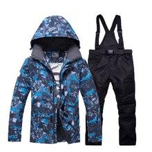 Теплый зимний лыжный костюм, комплект одежды для катания на лыжах, уличные спортивные термо-водонепроницаемые ветрозащитные куртки и штаны для сноуборда
