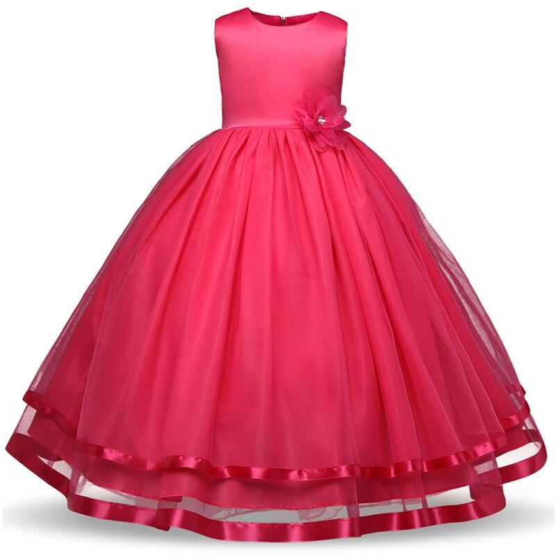 AliExpress Hot Selling Children Solid Color Wedding Dress Princess Dress Rose Dress Girls Party Costume