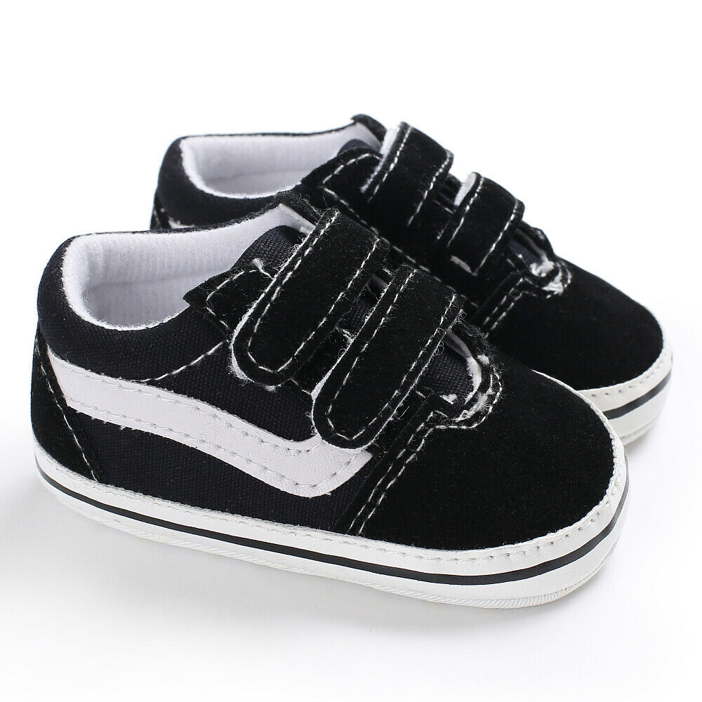 Newborn Baby Boys Pre-Walker Soft Sole Pram Shoes Canvas Sneakers Trainers 0-18M