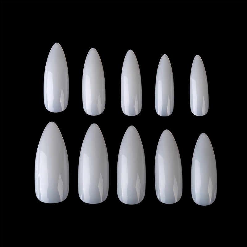 100ชิ้น/แพ็คProfessionalเล็บปลอมยาวเล็บStilettoสีขาวล้างฝาครอบอะคริลิคเล็บUVเจลเล็บปลอมเล็บเคล็ดลับศิลปะ