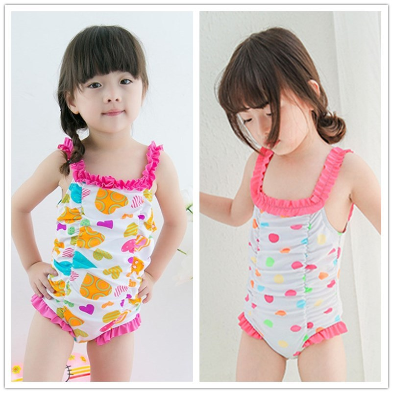 Special Offer Closeout Combination KID'S Swimwear Small Children GIRL'S Infants Pink Polkadot Printed Wrinkle One-piece Swimwear