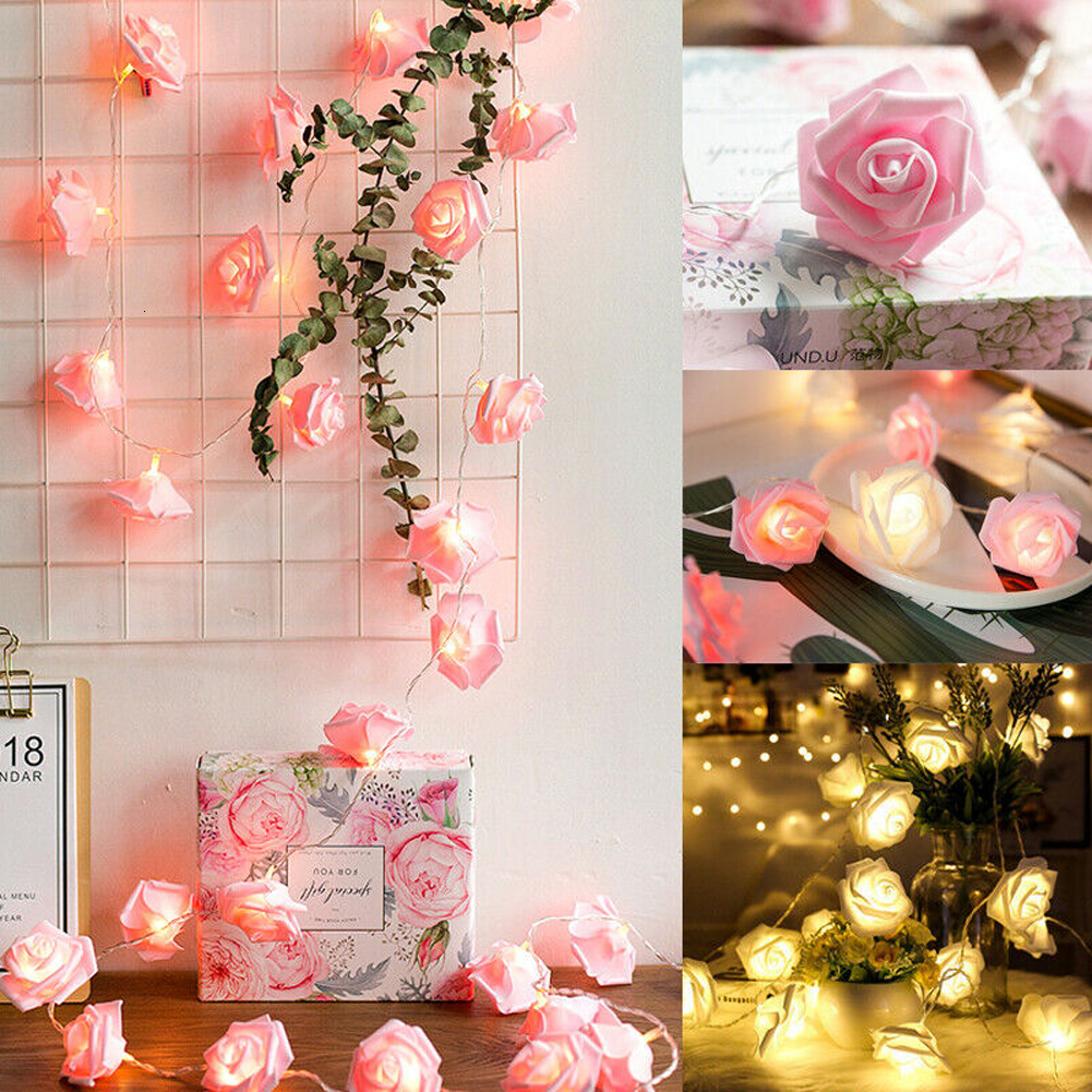 3M Rose Flower LED String Lights Battery Operated Christmas Wedding Holiday Lights For Valentine Wedding Decoration Luminaria
