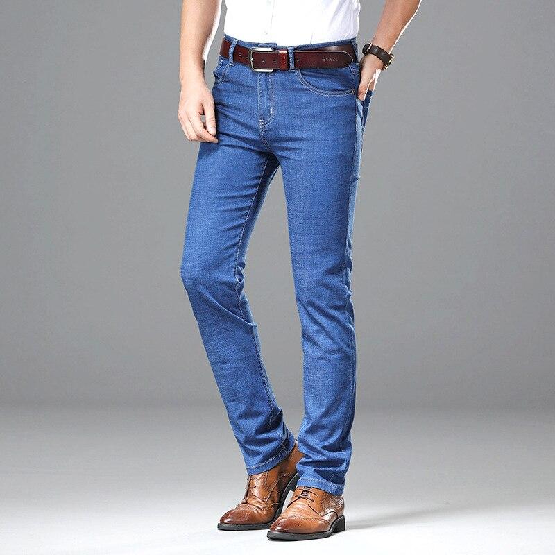2019 New Products Jeans Men's Thin Men Elasticity Straight-Cut Casual Jeans Medium Waist Business Cowboy Men's Trousers
