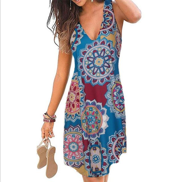 4XL 5XL Plus Size Dresses Women 2021 Sexy Summer Beach Short Dress Casual Sleeveless Deep V-Neck Ladies Folk Floral Print Dress 4