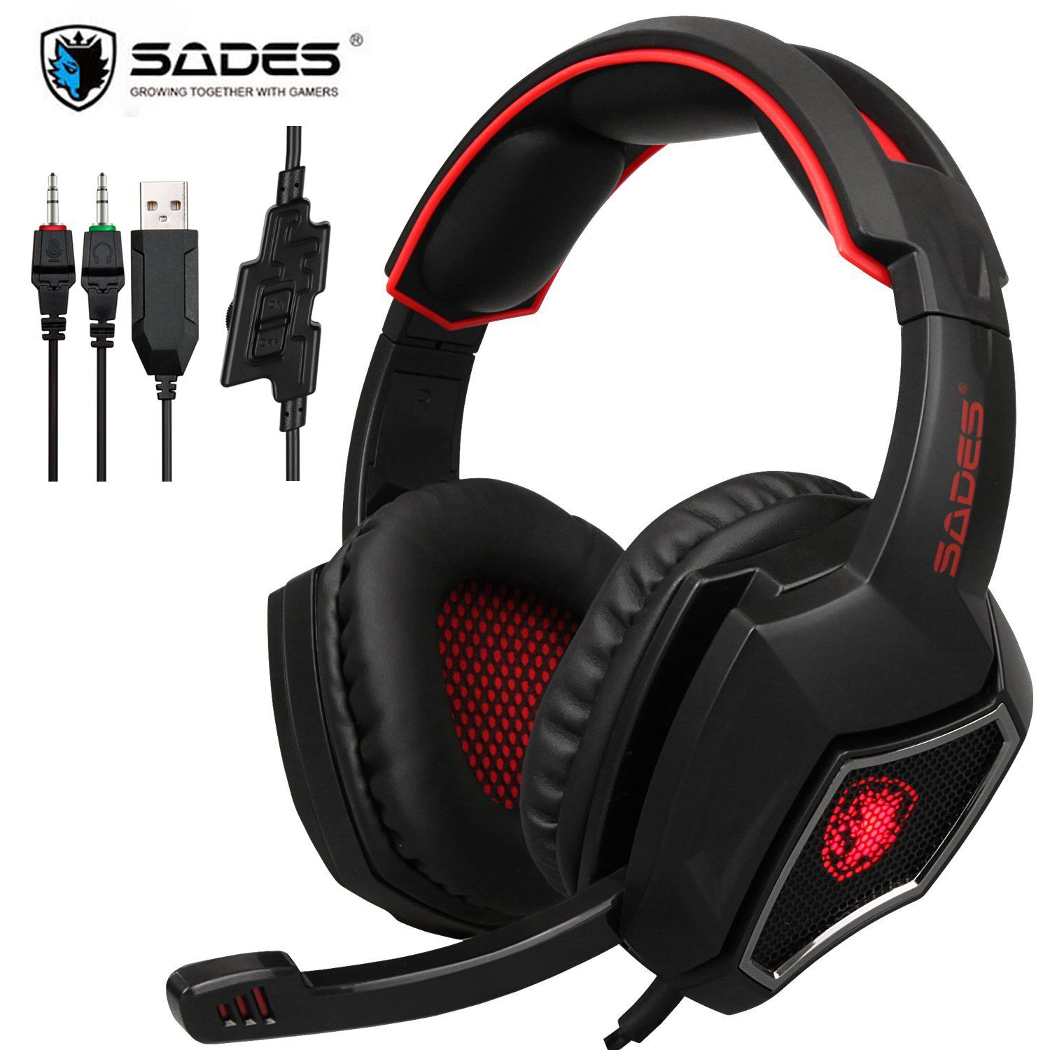 SADES Gaming Headset Wired Headphones Deep Bass Stereo wired gamer Earphone With Mic LED For PS4 XBox One/Laptop Tablet PC image