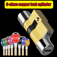Super C class Anti theft lock cylinder 12 key cylinder Universal copper plated chrome customized cylinders Copper key