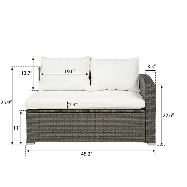 4 PCS Outdoor Cushioned PE Rattan Wicker Sectional Sofa Set 6