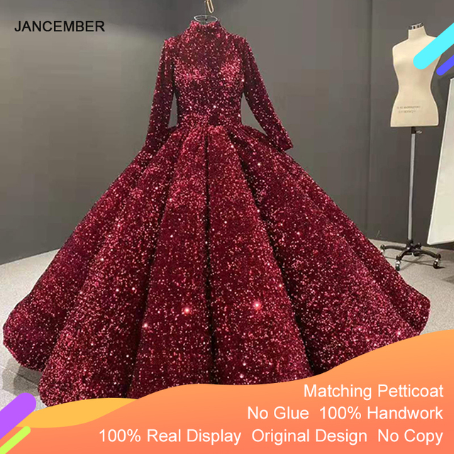 J66991 Jancember Formal Dress For Teenagers High Neck Long Sleeve Sequined Red Quinceanera Dresses 2020