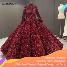 J66991 Jancember לבוש הרשמי עבור בני נוער גבוהה צוואר ארוך שרוול נצנצים אדום Quinceanera שמלות 2020