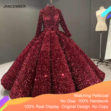J66991 jancemberフォーマルドレスティーンエイジャーのためのハイネック長袖スパンコールレッド大人のドレス2020