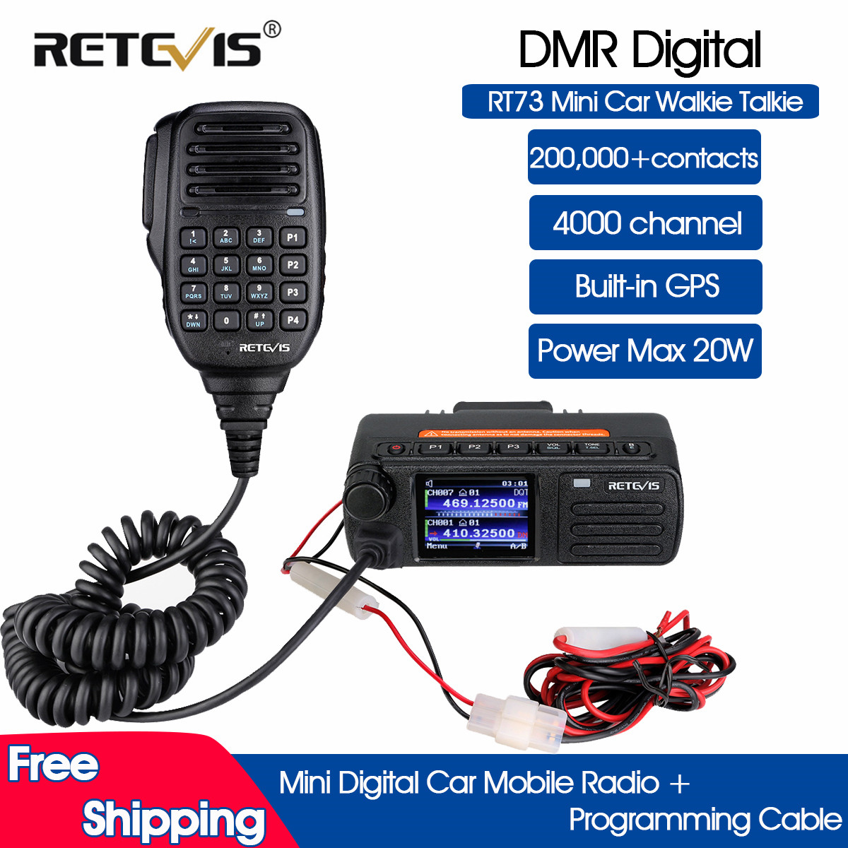 Pre-Sale DMR Digital Mobile Radio Retevis RT73 Mini Digital Car Radio Station GPS UV Dual Band 20W with Hand Microphone +Cable